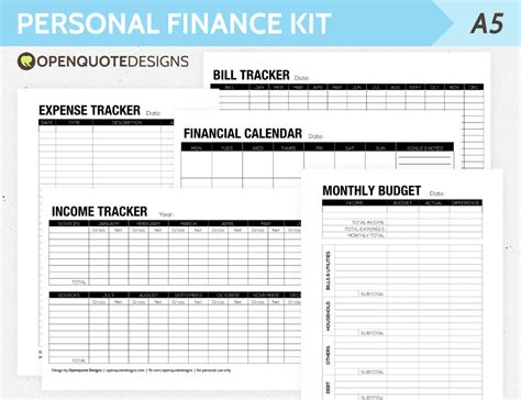 personal calendar template a5 filofax finance printable personal finance kit monthly