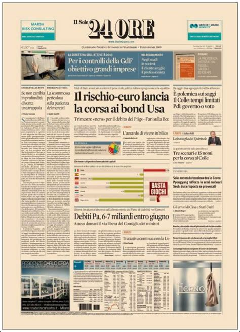 il sole 24 ore newspaper il sole 24 ore italy newspapers in italy