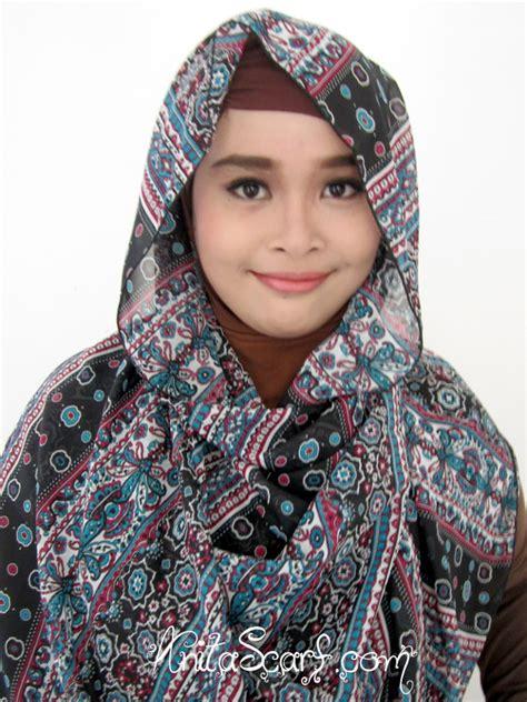 Etnik Scarf pashmina etnik warna biru hitam scarf
