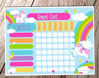 printable unicorn reward chart etsy your place to buy and sell all things handmade