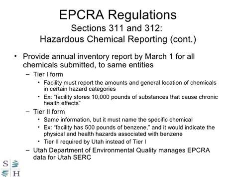 epcra section 311 hazardous substances laws and regulations