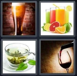 hot drink 8 letters 4 pics 1 word answer for beer juice tea wine heavy