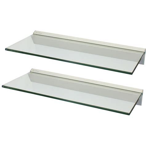 Hartleys pair 2x 60cm clear floating glass wall shelves storage display shelf ebay
