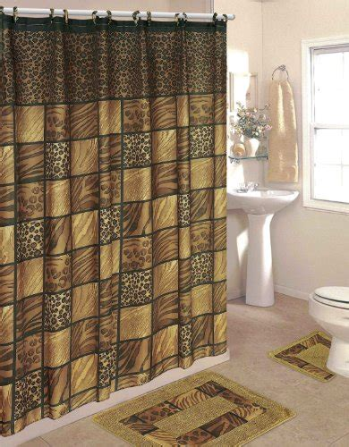 Bathroom Curtain And Rug Sets Bathroom Sets Leopard 15 Bathroom Set 2 Rugs Mats 1 Fabric Shower Curtain 12 Fabric