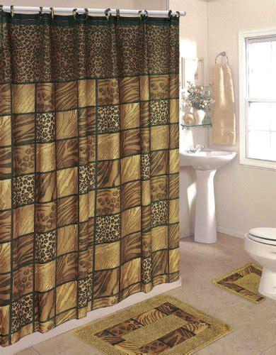 Bathroom Sets Leopard 15 Piece Bathroom Set 2 Rugs Mats Bathroom Curtain And Rug Sets