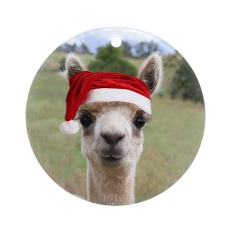 alpaca christmas ornament round