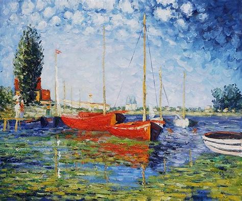 monet boats at argenteuil claude monet red boats at argenteuil claude monet