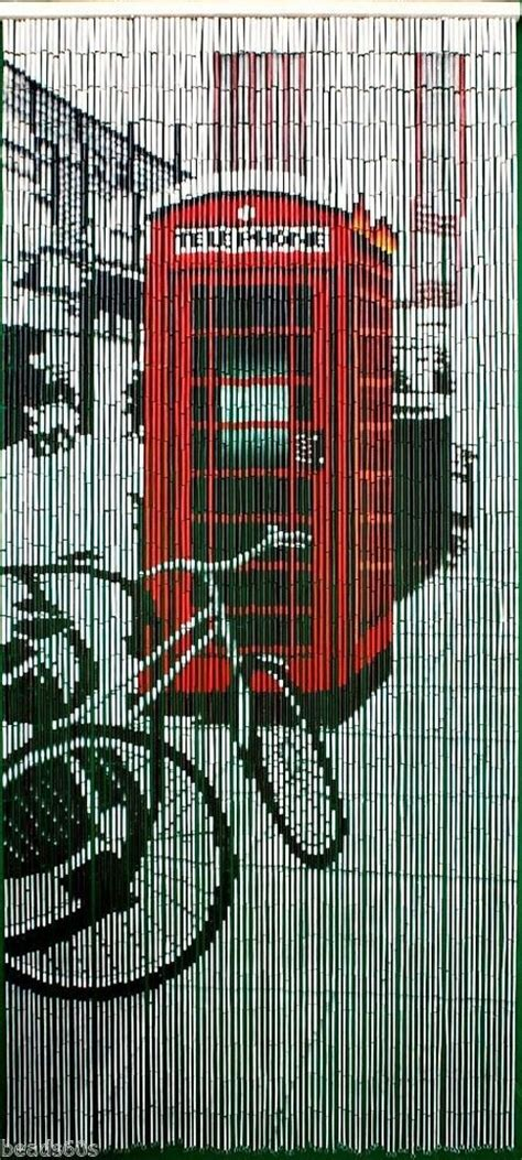 retro beaded curtains natural bamboo retro red phone booth beaded door window