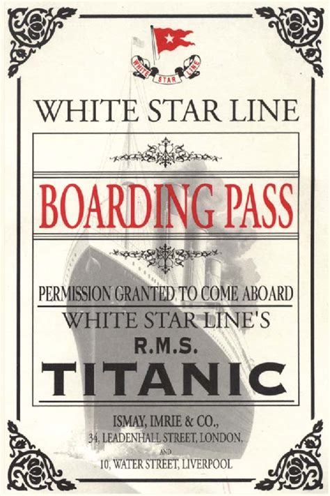 printable titanic boarding pass template titanic printable invitation pictures to pin on