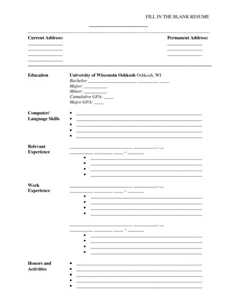 blank resume templates for microsoft word inspiredshares