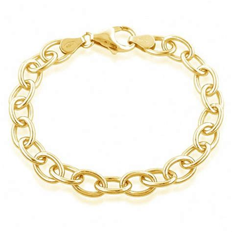oval link charm bracelet in sterling silver and 18k gold