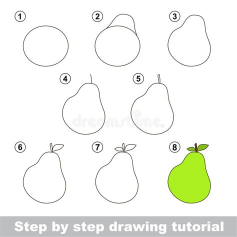 sketch to vector tutorial drawing tutorial how to draw a pear stock vector