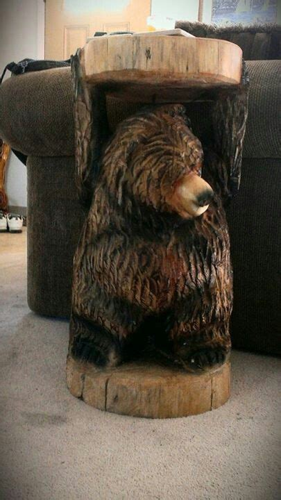 bear side table  bigwood chainsaw carving chainsaw