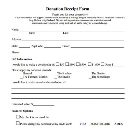 donation form template 9 donation receipt templates free sles exles format