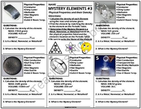 Periodic Table Test Worksheet Mystery Elements And Their Density 3 From