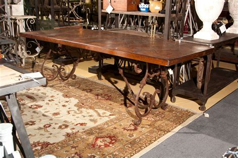 Wrought Iron Dining Room Table Base Wrought Iron Base Wood Top Dining Table At 1stdibs
