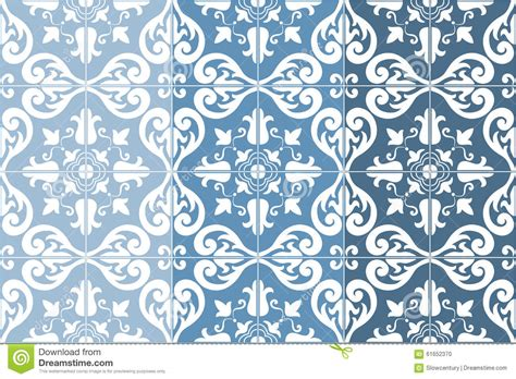 Craft Mosaic Tiles by Traditional Ornate Portuguese Tiles Azulejos Vector