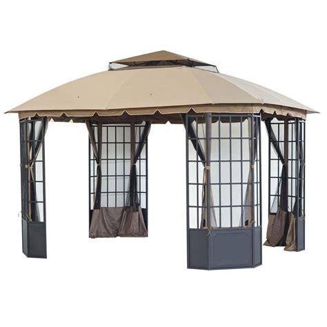 home depot gazebo sunjoy loden 13 ft x 10 8 ft steel and fabric gazebo l