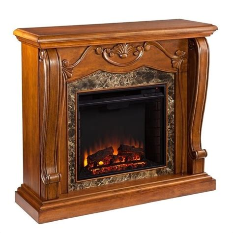 Walnut Electric Fireplace by Southern Enterprises Cardona Electric Fireplace In Walnut