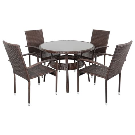 Wicker Patio Dining Table Ravenna Dining Table 4 Chairs Brown Rattan Wicker Aluminium Garden Patio Outdoor Ebay