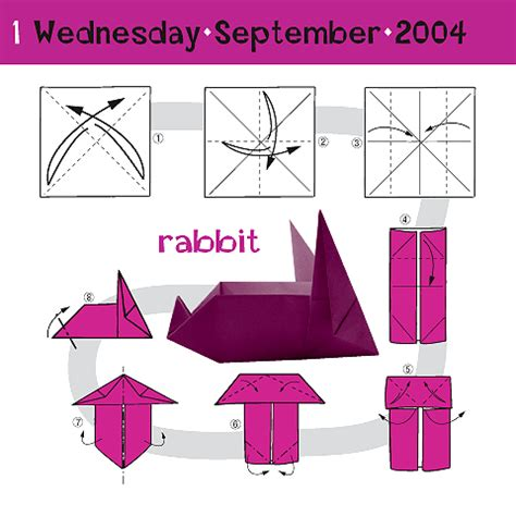 Origami Calender - how to fold a bunny september 1