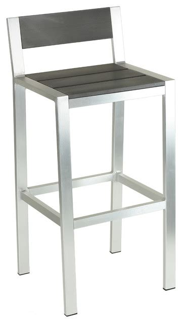 aluminum outdoor barstool slate gray poly wood