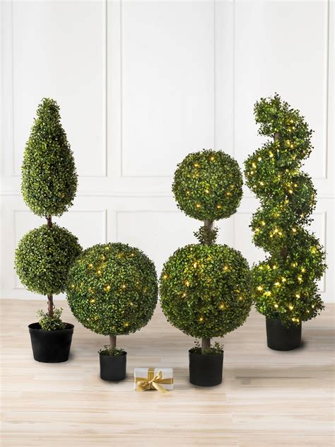 battery lit artficial topiaries battery operated boxwood topiary balsam hill