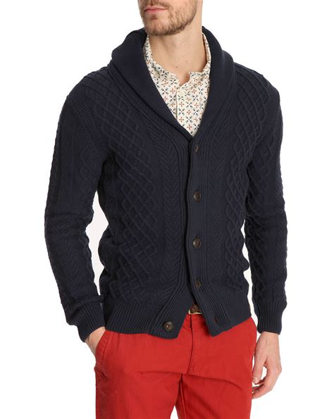 Sweater Marsmellow Navy Blue knowledge cotton apparel cable knit navy blue cardigan in blue for navy lyst