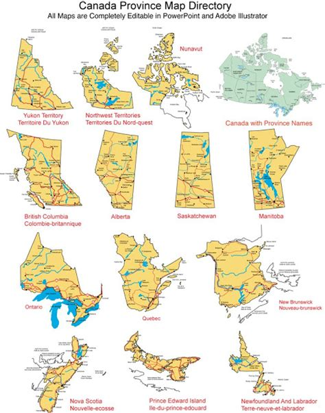 canada provinces map maps for design editable clip powerpoint maps