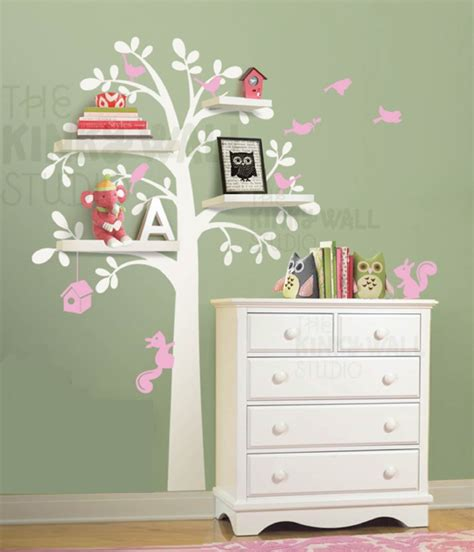 tree wall sticker with shelves 7 woodland shelf tree nursery wall decals removable