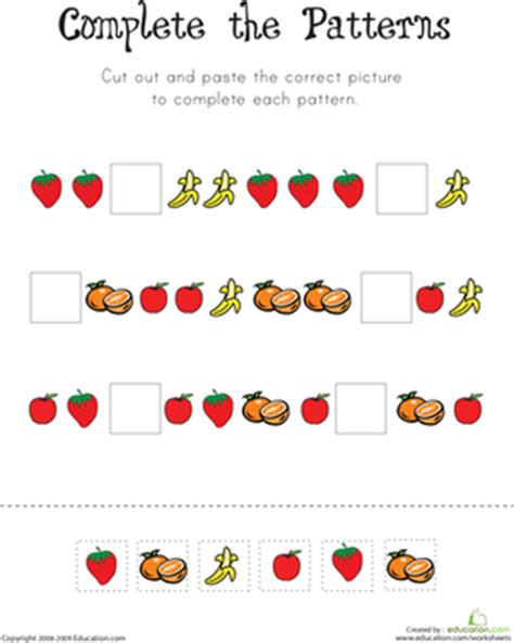pattern worksheet for 1st grade learning patterns worksheet education com