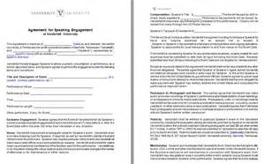 Of Engagement Document Template by Speaker Engagement Contract Free Sle Exle Form