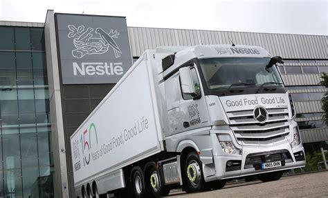 nestle celebrates   year milestone   fuel efficient mercedes benz actros fleet uk