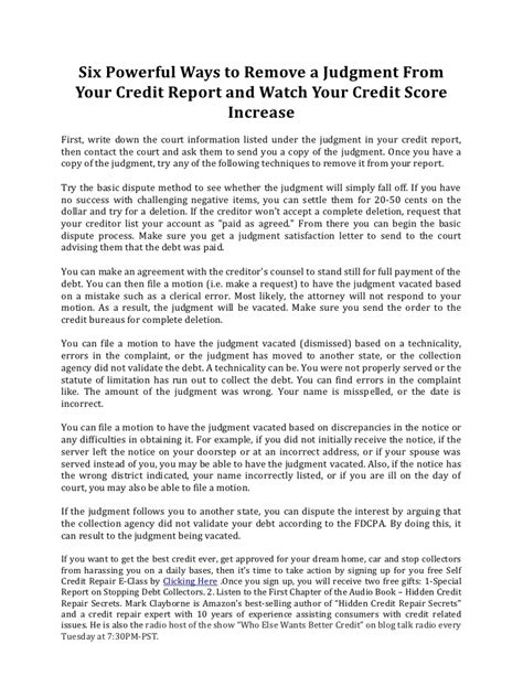 Judgement Proof Letter To Creditors Six Powerful Ways To Remove A Judgment From Your Credit Report And Wa