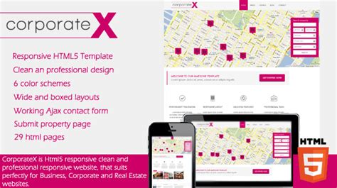 corporatex real estate corporate html5 template themes