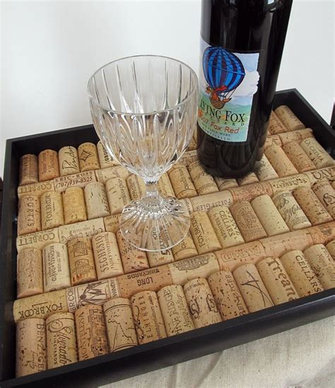 wine cork home decor black wine cork serving tray housewarming wedding
