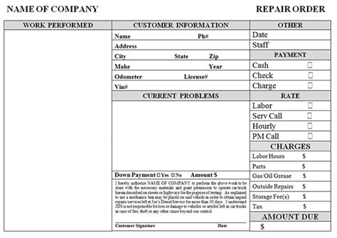 invoice template for home repairs home repair receipt template for