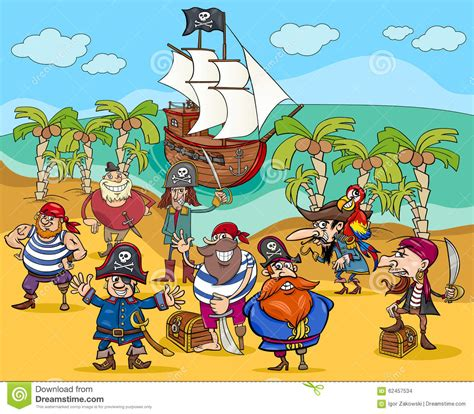 pirates on treasure island cartoon stock vector image