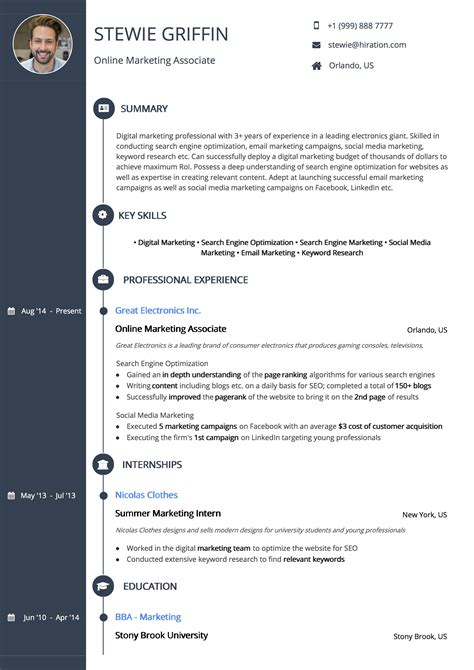 Resume Template Signature Timeline By Hiration Timeline Resume Template