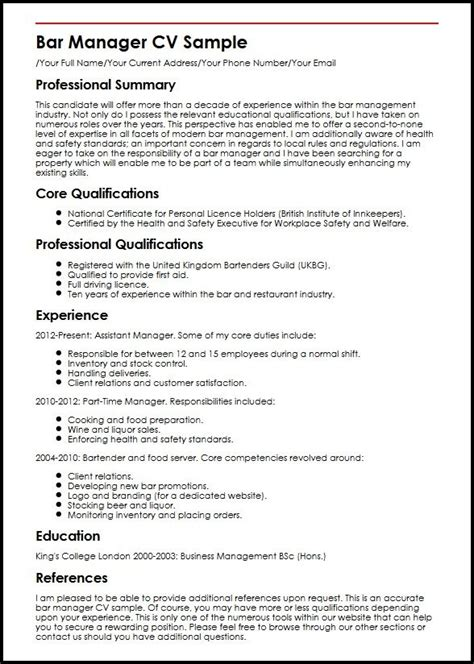 Resume Ideas For Managers by Bar Manager Cv Sle Myperfectcv In Resume Ideas For