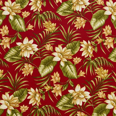 Large Floral Print Upholstery Fabric C402 Red Gold And Green Floral Outdoor Indoor Upholstery