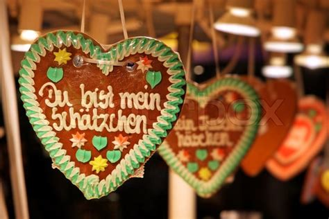 traditional german handmade gingerbread heart used as