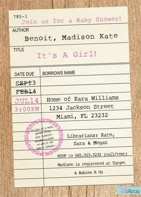 Library Card Baby Shower Invitation by Library Card Styled Baby Shower Printable Invitation