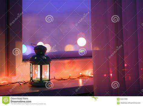 lantern on a window sill stock photo image 65917898