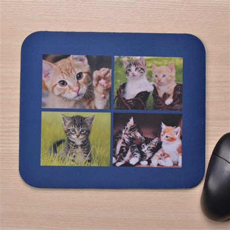 navy blue collagemuseum personalized four collage mousepad navy blue