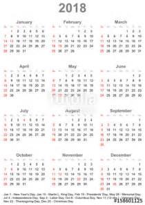 Kalender 2018 Usa Quot Einfacher Kalender 2018 Mit Gesetzlichen Feiertagen Und
