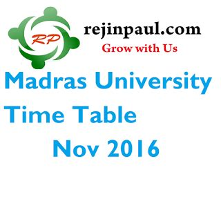 Madras Distance Education Mba Syllabus 2016 by Madras Time Table Nov 2016 Quot Announced Quot Ug Pg