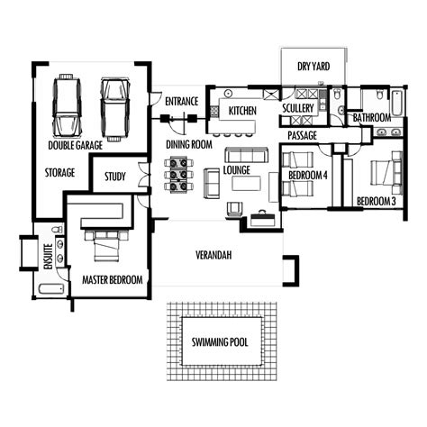 3 bedroom 285m2 floor plan only house plans south