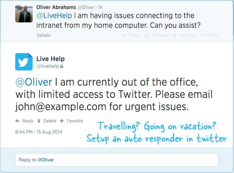 email out of office how to setup an out of office auto reply in twitter
