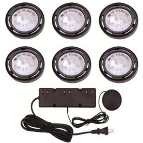 zilotek cabinet lighting hton bay 6 light xenon black cabinet puck light